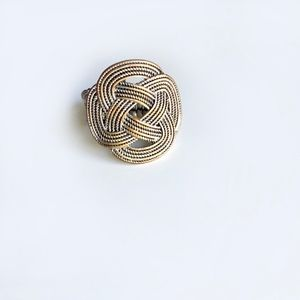Vintage Braided Design Ring  Gold Silver and Black